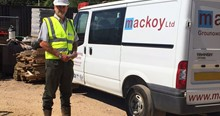 Mackoy Groundworks SHEQ Manager David Bacon next to a Mackoy Van