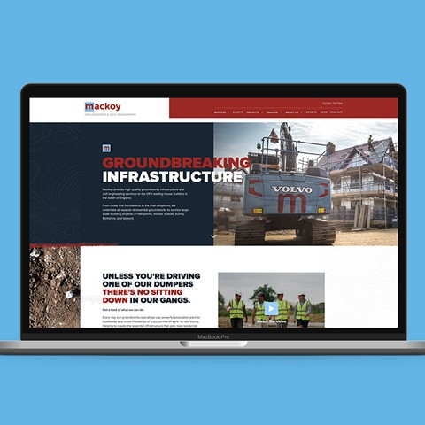 Mackoy Groundworks and Civil Engineering New Website Displayed on Screen